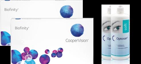 2x Biofinity 6er + 2x Optosan 380ml - Sparset
